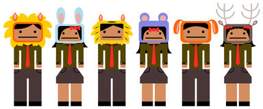 Mascot business. A set made up of business people wearing different animal masks Stock Photos