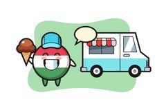 Free Mascot Cartoon Of Hungary Flag Badge With Ice Cream Truck Royalty Free Stock Image - 215410806