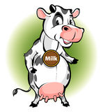 Mascot cow's milk products in the form of a cow with a cartoon style Stock Photo