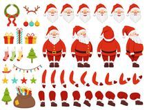 Mascot creation kit of christmas character. Santa in different keyframes Royalty Free Stock Images