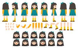 Free Mascot Creation Kit Of Little Girl For Different Poses. Royalty Free Stock Images - 162853239