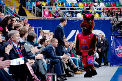 Mascot of CSKA team on tribune royalty free stock photography