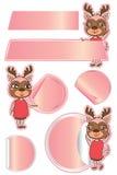 Mascot cute deer sticker present Stock Photos