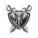 Mascot elephant design illustration emblem sport logo icon isolated stock image