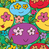 Mascot eye on flower many seamless pattern Royalty Free Stock Images