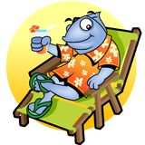 Mascot Fish relax. Illustration of  a fish wearing hawaiian shirt sitting and relaxing on a beach camp-chair Stock Images