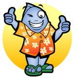 Mascot fish two thumbs up. Illustration of Fish wearing hawaiian shirt raising his two thumbs up vector illustration