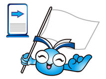 The mascot is holding a flag. Education and life Character Desig Royalty Free Stock Photo