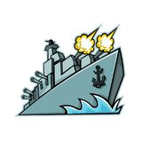American Destroyer Warship Mascot. Mascot icon illustration of an American destroyer, warship or battleship with cannons firing viewed from a low angle on Royalty Free Stock Image