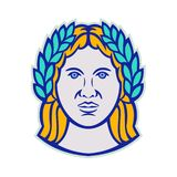 Ceres Roman Agricultural Deity Mascot. Mascot icon illustration of head of Ceres, a Roman agricultural deity with Demeter as Greek god equivalent wearing a vector illustration