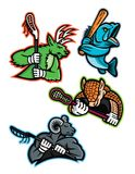 Lacrosse and Baseball Sports Mascot Collection Stock Images