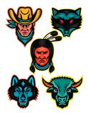 American Sports Mascot Series Collection. Mascot icon illustration set of popular North American sports or sporting icons like the cowboy or outlaw, raccoon Stock Images