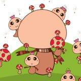 Mascot mushroom land Stock Image