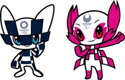 Editorial image for the mascot duo for the Tokyo 2020 Olympic games. The mascot for the Olympics is named Miraitowa while the Paralympic mascot will be known as stock illustration
