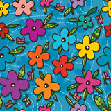 Mascot one eye on flower seamless pattern Royalty Free Stock Photo