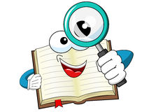 Mascot open book looking magnifying glass isolated vector illustration