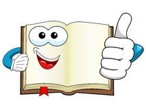 Mascot open book thumb up copyspace isolated Stock Images