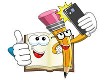 Mascot Pencil book taking selfie smartphone isolated Stock Image
