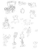 Mascot pencil sketches abnormal elves candelabras Royalty Free Stock Image