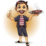 Mascot Penjual sate Madura. Vector illustrations, traditional Indonesian cooks are showing off sate as one of the typical dishes of the archipelago Stock Images