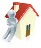 Mascot person and house. Illustration of a figure leaning on a house Stock Image
