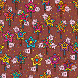 Mascot play star stick seamless pattern Stock Photo