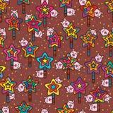 Mascot play star stick seamless pattern Stock Photo