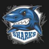 Mascot Sharks - emblem for a sport team. Royalty Free Stock Images