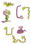 Mascot snake female male lovers Royalty Free Stock Image
