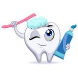 Mascot Tooth Brushing itself Royalty Free Stock Photo