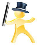 Mascot with wand and top hat. Mascot person magician with a wand and black top hat Royalty Free Stock Images
