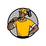 Mascota afroamericana del trabajador de demolición ilustración del vector