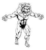 Mascota asustadiza de los deportes del león Imagen de archivo libre de regalías