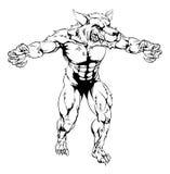 Mascota asustadiza de los deportes del lobo del hombre lobo Foto de archivo
