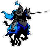 Mascota azul Jousting del caballero en caballo Fotografía de archivo