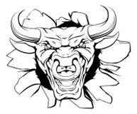 Mascota de Bull que rompe hacia fuera Foto de archivo