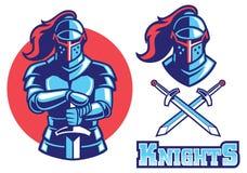 Mascota de la armadura del caballero ilustración del vector