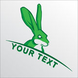 Mascota de la bandera de la mascota del conejo en deporte Foto de archivo