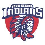 Mascota de la escuela de la cabeza del jefe indio libre illustration