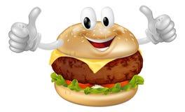 Mascota de la hamburguesa Foto de archivo libre de regalías