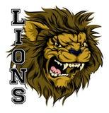 Mascota de los deportes de los leones Foto de archivo libre de regalías