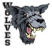 Mascota de los deportes de los lobos Imagenes de archivo