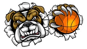 Mascota de los deportes del baloncesto del dogo stock de ilustración