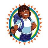Mascota del caminante del hombre negro Fotografía de archivo libre de regalías