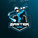Mascota del diseño del logotipo del vector del golf con el estilo moderno del concepto del ejemplo para la impresión de la insign stock de ilustración