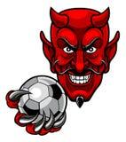 Mascota del fútbol del fútbol del diablo Fotografía de archivo