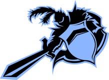 Mascota del guerrero del caballero negro stock de ilustración
