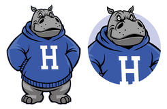 Mascota del hipopótamo stock de ilustración