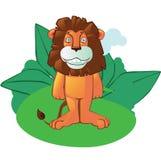 Mascota del león de la historieta en fondo Imagenes de archivo