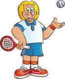 Mascota del león del jugador de tenis stock de ilustración